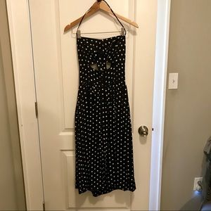 Retro  black and white halted dress with pockets
